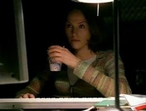 Sara on a computer